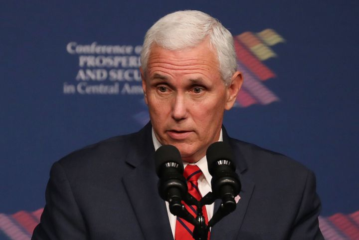 Vice President Mike Pence speaks during the Conference on Prosperity and Security in Central America at the Florida Internati