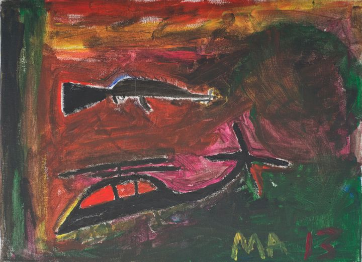 This piece is one of more than 80 artworks by child refugees that will be on display ata new exhibition in London.