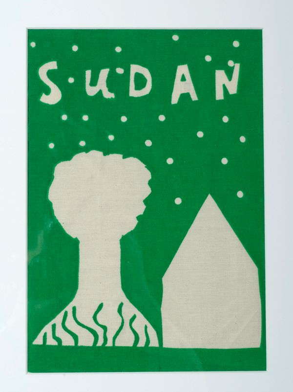 A young Sudanese refugee created this final screen print of a tree and a house to symbolize family and home.