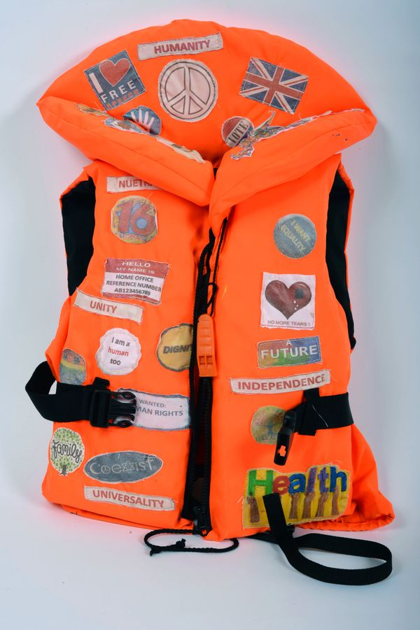 """Life Jacket"" consists of around 30 patches, each representing themes that are important to some of the refugees"