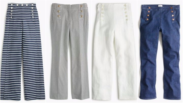 "L to R:<a href=""https://www.jcrew.com/p/womens_category/pants/chinoutilitypants/petite-striped-sailor-pant/g2711?isFromSearch=true&amp;color_name=navy&amp;N=0&amp;Nloc=en&amp;Ntrm=sailor&amp;Npge=1&amp;Nrpp=60&amp;Nsrt=0&amp;hasSplitResults=false&amp;mode=sidecar"" target=""_blank""> Petite striped sailor pant</a>, now $94.99,&nbsp;<a href=""https://www.jcrew.com/p/womens_category/pants/slim/teddie-sailor-pant-in-skinny-stripe/e8717?isFromSearch=true&amp;color_name=navy-stripe&amp;N=0&amp;Nloc=en&amp;Ntrm=sailor&amp;Npge=1&amp;Nrpp=60&amp;Nsrt=0&amp;hasSplitResults=false&amp;mode=sidecar"" target=""_blank"">Teddie sailor pant in skinny stripe</a>, now $69.99, <a href=""https://www.jcrew.com/p/womens_category/pants/novelty/sailor-pant-in-heavy-linen/g2020?isFromSearch=true&amp;color_name=white&amp;N=0&amp;Nloc=en&amp;Ntrm=sailor&amp;Npge=1&amp;Nrpp=60&amp;Nsrt=0&amp;hasSplitResults=false&amp;mode=sidecar"" target=""_blank"">sailor pant in heavy linen</a>, now $59.99, <a href=""https://www.jcrew.com/p/womens_category/pants/novelty/sailor-pant-in-heavy-linen/g2020?isFromSearch=true&amp;color_name=white&amp;N=0&amp;Nloc=en&amp;Ntrm=sailor&amp;Npge=1&amp;Nrpp=60&amp;Nsrt=0&amp;hasSplitResults=false&amp;mode=sidecar"" target=""_blank"">Billie demi-boot crop sailor jean</a>, now $59.99."