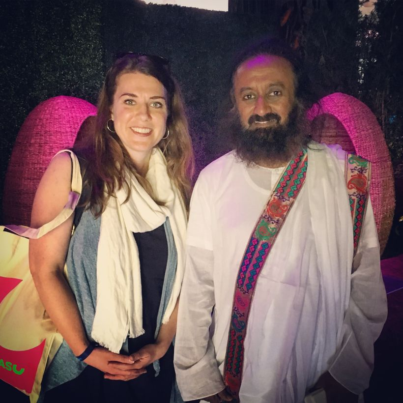 Myself pictured with my yoga teacher Sri Sri Ravi Shankar after his opening talk on Happiness to kick off WOHASU.