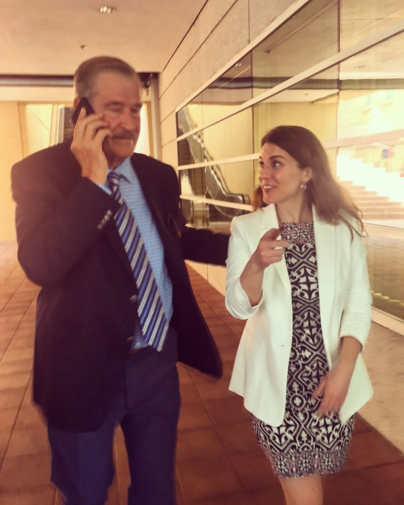 With Former Mexican President Vicente Fox, who spoke of the importance of mutual care, respect, sharing, and reciprocity amon