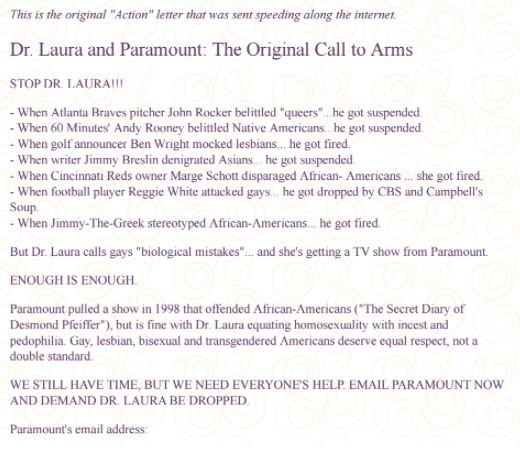 The email that went viral and helped take down conservative talk-show host Dr. Laura in 2000.