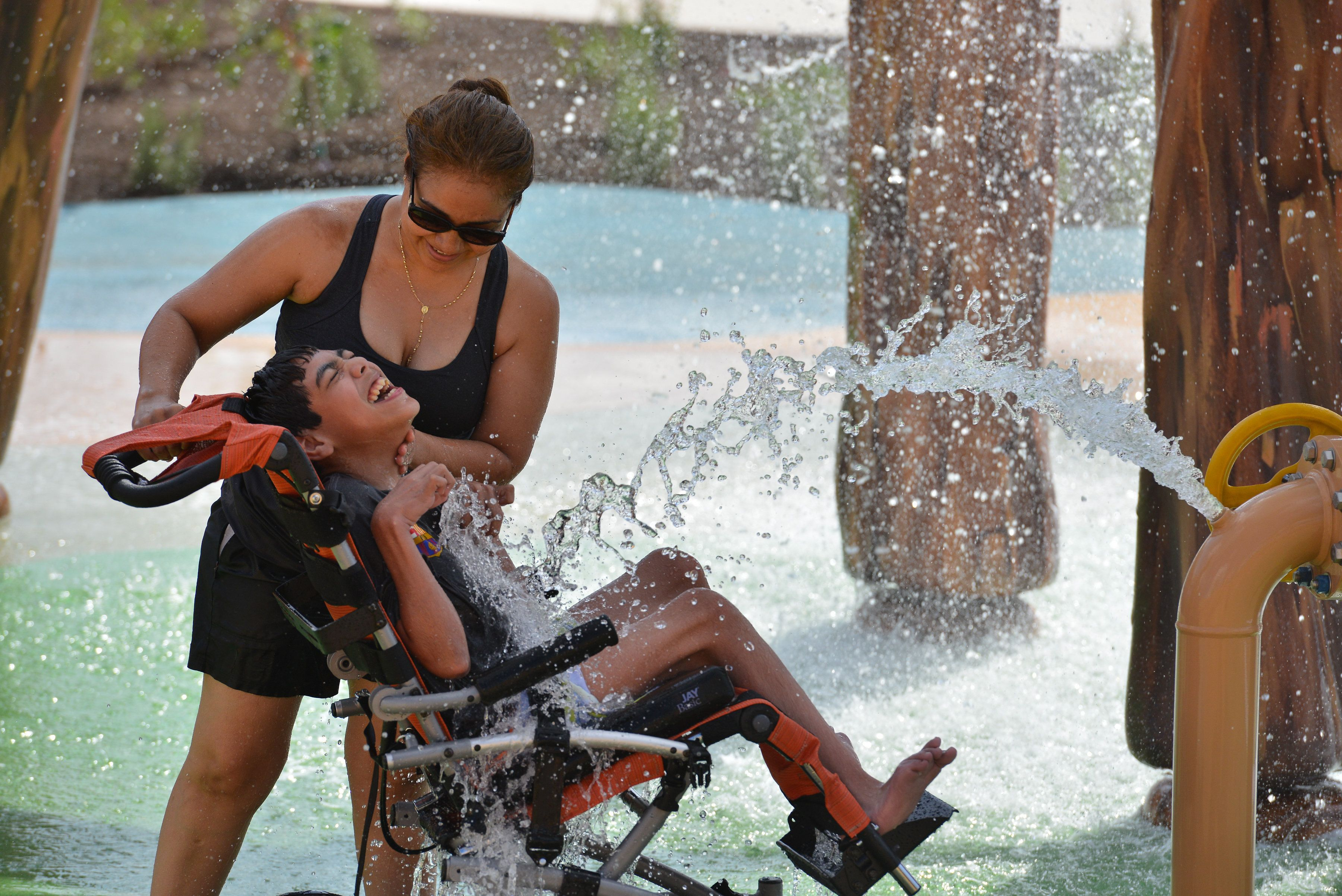 Morgan's Inspiration Island, a splash park, was designed with kids in disabilities in mind.