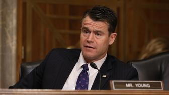 WASHINGTON, DC - APRIL 25:  Senate Foreign Relations Committee member Sen. Todd Young (R-IN) questions witnesses during a committee hearing about Libya in the Dirksen Senate Office Building on Capitol Hill April 25, 2017 in Washington, DC. Senators heard testimony from country specialists about the thousands of small and large factions that splinter politics and security today in Libya.  (Photo by Chip Somodevilla/Getty Images)