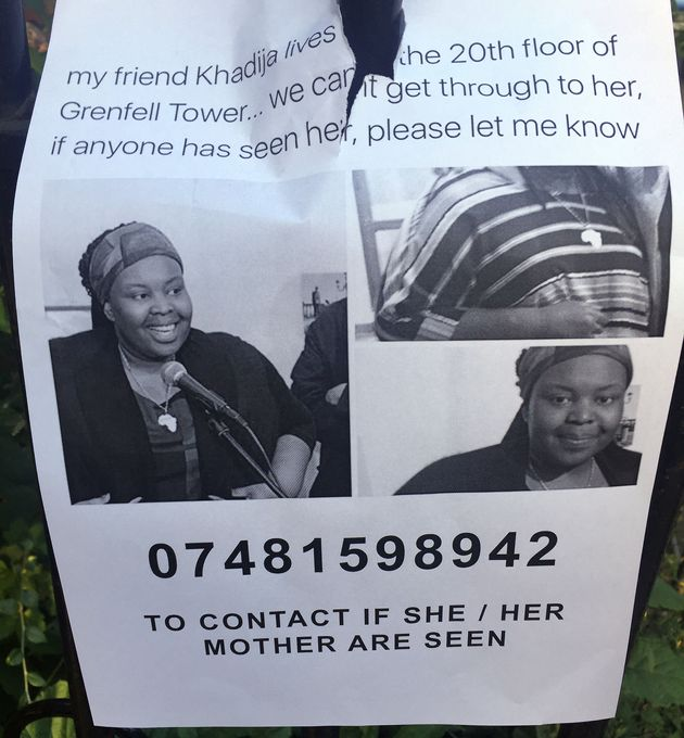 A poster with a picture of Khadija Saye when she was missing, close to the scene of the