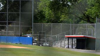 General view of the third base players dugout and field where shots were fired during a congressional baseball practice, wounding House Majority Whip Steve Scalise (R-LA), in Alexandria, Virginia, U.S., June 14, 2017. REUTERS/Mike Theiler