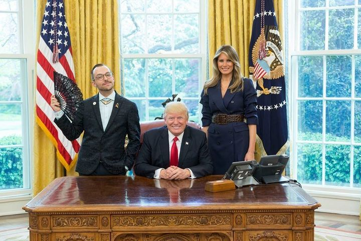 "Nikos Giannopoulos ""celebrates the joy and freedom of gender nonconformity"" in a photo with Donald and Melania Tru"