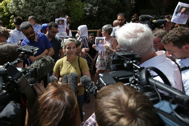 Lily Allen speaking to the media ata protest following the