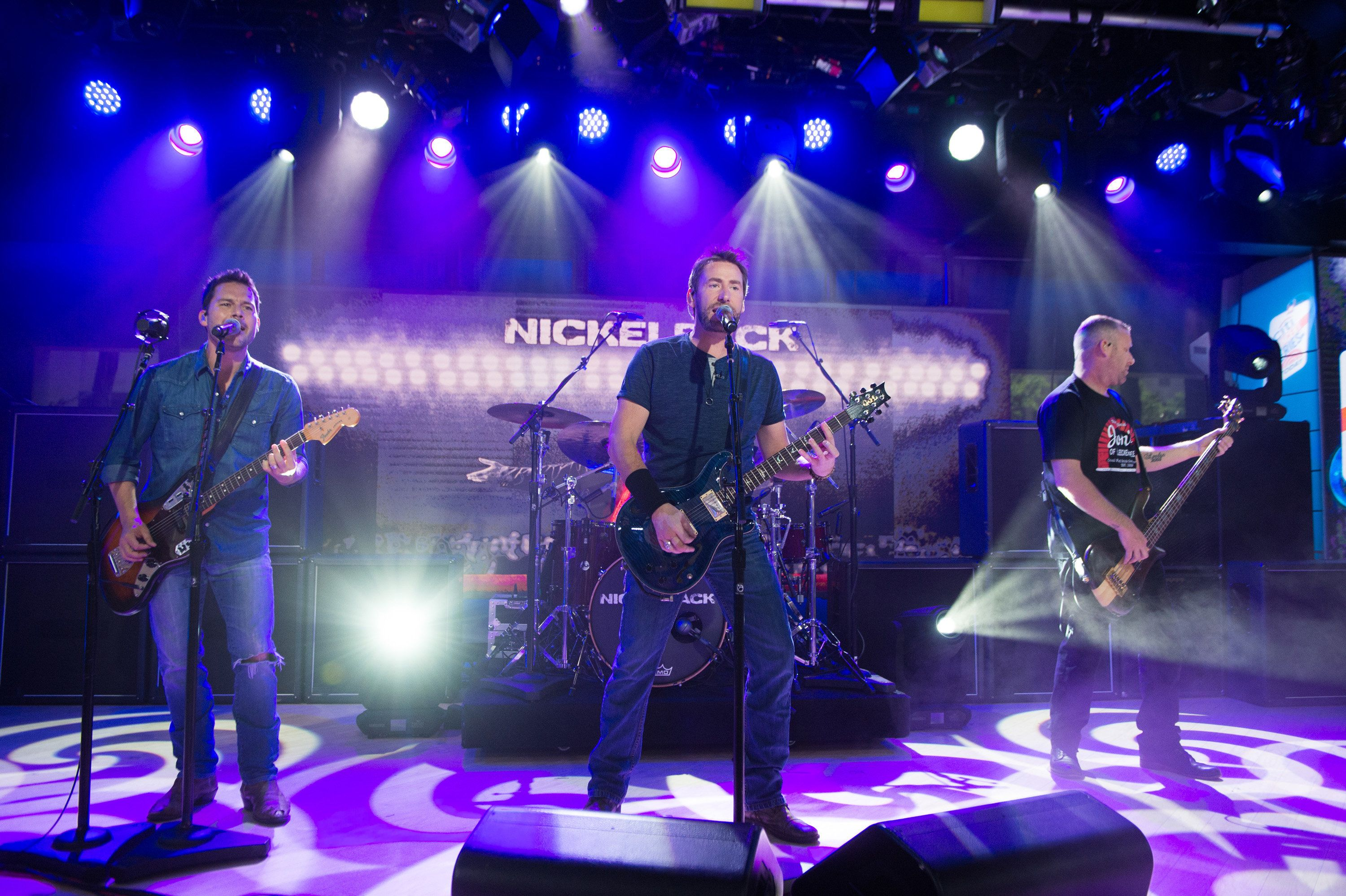 TODAY -- Pictured: (l-r) Ryan Peake, Chad Kroeger, Daniel Adair, Mike Kroeger of Nickelback on Monday, June 13, 2017 -- (Photo by: Nathan Congleton/NBC/NBCU Photo Bank via Getty Images)