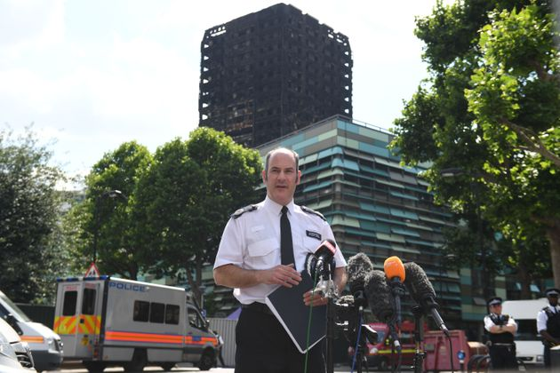 Metropolitan Police Commander Stuart Cundy speaking to the media near Grenfell Tower in west London on