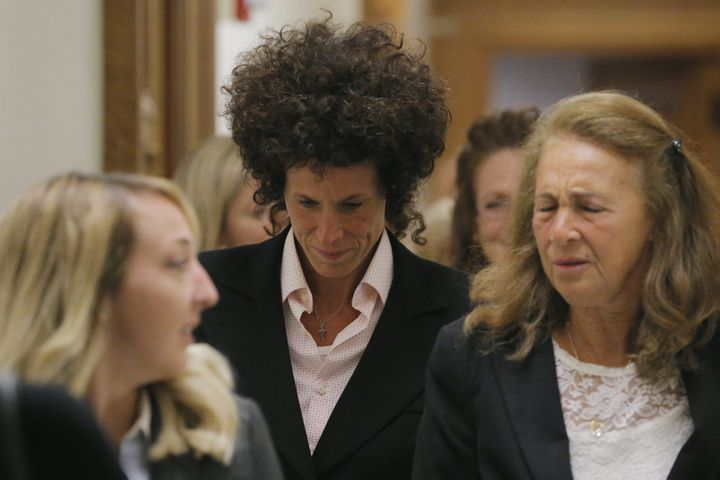 Andrea Constand reacts after leaving the courtroom following the fifth day of deliberations in Bill Cosby's sexual assault tr