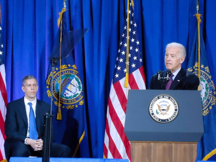 Vice President Joe Biden, flanked by Secretary of Education Secretary Arne Duncan, announced  comprehensive guidance to help