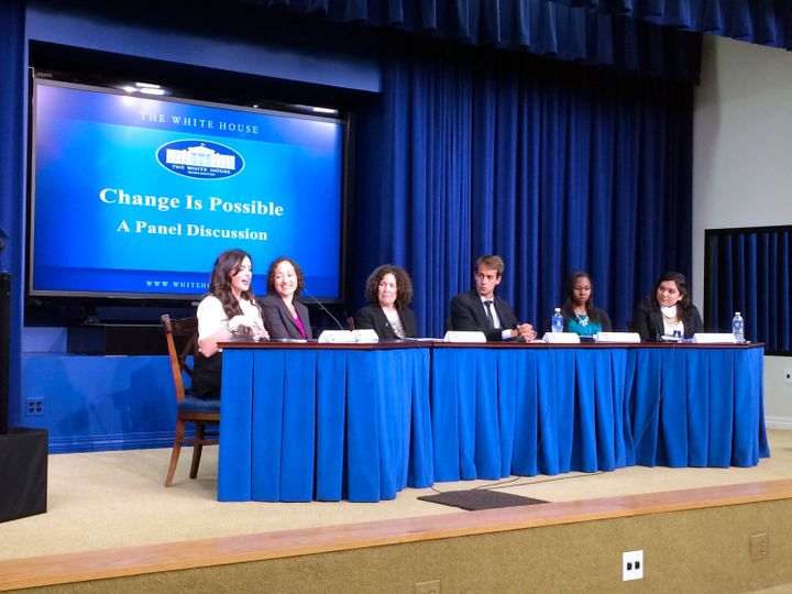 Catherine Lhamon, second from left, participates in a White House panel discussion about campus sexual violence. April 29, 20