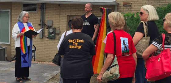 <em>The day after the march, on June 12th, a group gathered to remember the 49 victims of the Pulse night club shooting one y