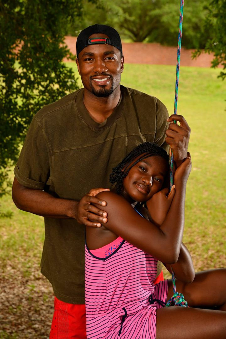 NBA free agent Serge Ibabka with his 11-year-old daughter Ranie, with whom he will spend his first Father's Day this year. Ranie was born in Congo and was raised by Ibaka's family, unbeknownst to him until a few years ago.