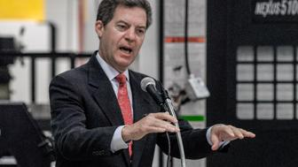 Emporia, Kansas 10-7-2015 Governor Sam Brownback (R-KS) awards VEKTEK with his Exporter of the Year award. Vektek is a world leading supplier of hydraulic and pneumatic clamping systems for the metalworking, tool & die and mold industries. Vektek's clamping equipment serves a host of manufacturing fields, including automotive, heavy equipment, aerospace, defense, energy, medicine and agriculture. Credit: Mark Reinstein (Photo by Mark Reinstein/Corbis via Getty Images)