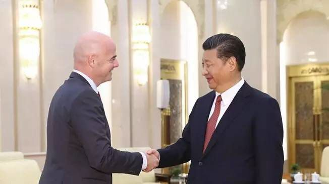 China President Xi Jinping meets FIFA head Gianni Infantino. Xi has reportedly told Infantino that his nation would like to h