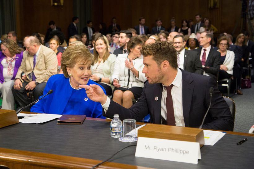 <em>Senator Elizabeth Dole and Ryan Phillippe testify before the Senate Special Committee on Aging</em>