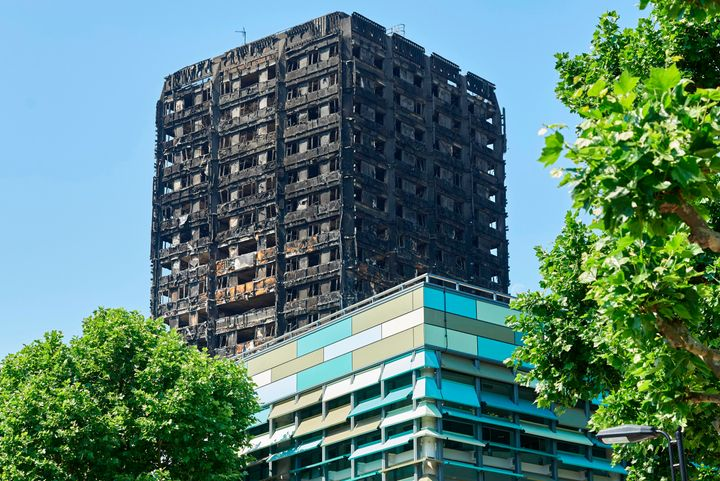 The charred remnains of the Grenfell Tower block in Kensington, west London.