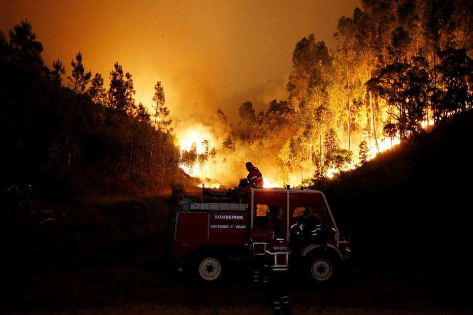 Firefighters work to put out a forest fire near Bouca, in central Portugal, June 18,