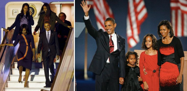 The Obama family is seen left in 2016 and right in 2008