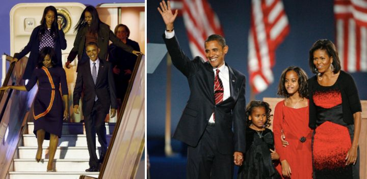 The Obama family is seen left in 2016 and right in 2008.