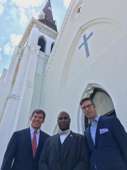 Rev. Eric SC Manning (center) and Michael Arad (right) said Saturday the design process was in its beginning stages.