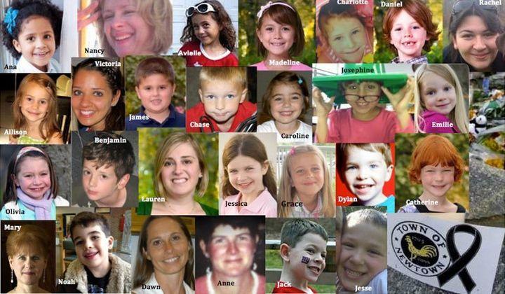 Human beings murdered at Sandy Hook Elementary on December 14, 2012.