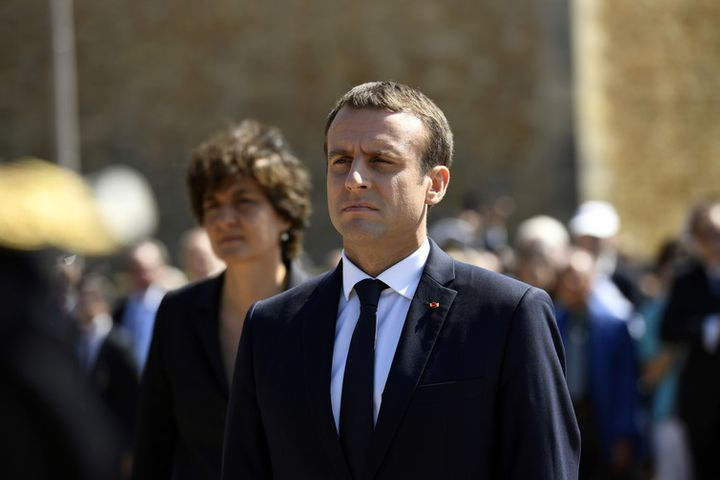 French President Macron attends a ceremony marking the 77th anniversary of de Gaulle's resistance call of June 18, 1940.