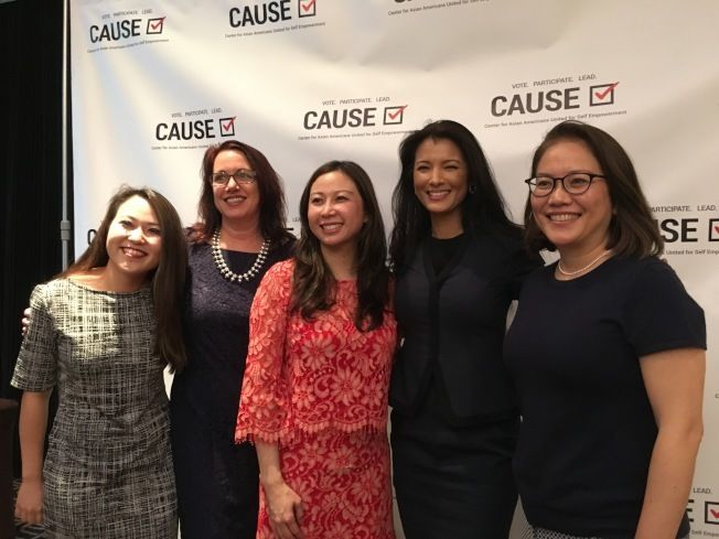 Inspiring. Left to right: CAUSE Executive Director Kim Yamasaki, SoCal Gas Director of Community Relations and CAUSE Women in