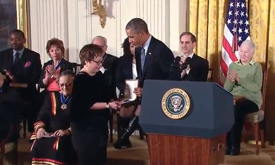 Patsy Mink's daughter Wendy receives the Presidential Medal of Freedom awarded to her mother posthumously by President Obama