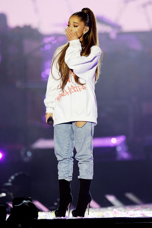 Ariana on stage during the One Love Manchester