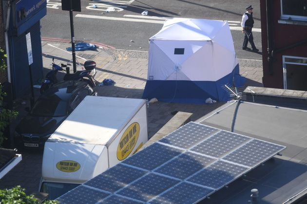 A forensic tent and van in Finsbury Park after one man died and eight people were taken to hospital when the...