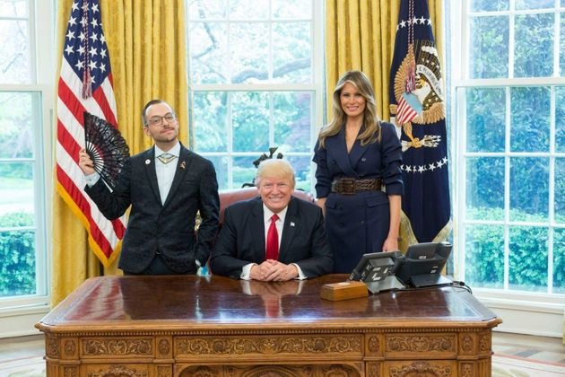 Nikos Giannopoulos with Donald and Melania Trump at the Oval Office last