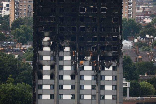 The burnt Grenfell Tower. At least 80 people died in the blaze and the death toll is still