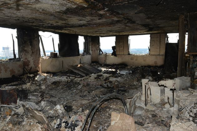 A police photo shows the inside of a Grenfell Tower