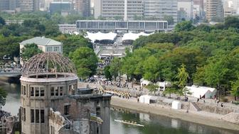 Hiroshima Peace Memorial Park is seen with the atomic bomb dome (L) during the 71st memorial service for the A-bomb victims in Hiroshima on August 6, 2016. Japan marked 71 years from the moment the city of Hiroshima was destroyed by a US atomic bomb, in an annual ceremony just months after President Barack Obama paid a historic visit. / AFP / JIJI PRESS / JIJI PRESS / Japan OUT        (Photo credit should read JIJI PRESS/AFP/Getty Images)