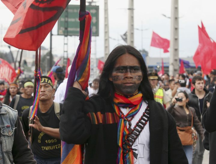 Indigenous Ecuadorians march in Quito to protest the El Mirador copper mining project on March 22 2012.