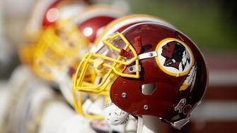 SANTA CLARA, CA - NOVEMBER 23: Washington Redskins helmets on the sideline during their game against the San Francisco 49ers at Levi's Stadium on November 23, 2014 in Santa Clara, California.  (Photo by Ezra Shaw/Getty Images)