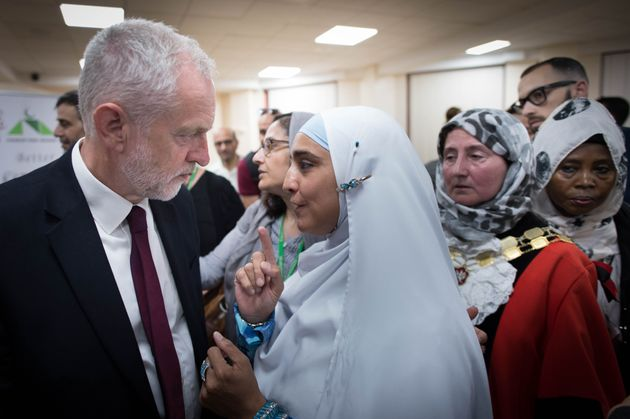 Labour leader Jeremy Corbyn meets locals at Finsbury Park Mosque on Monday