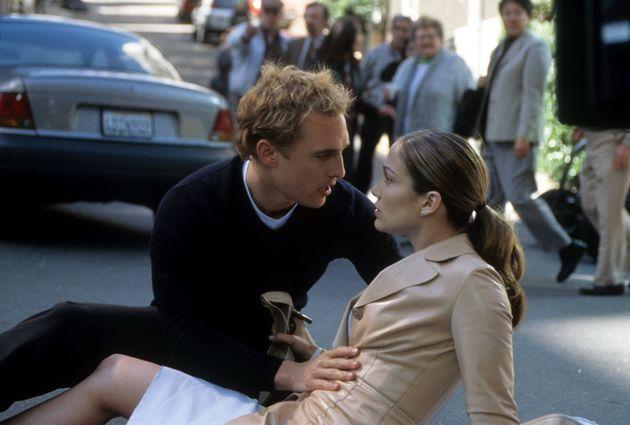 Matthew McConaughey helps Jennifer Lopez in a scene from the film