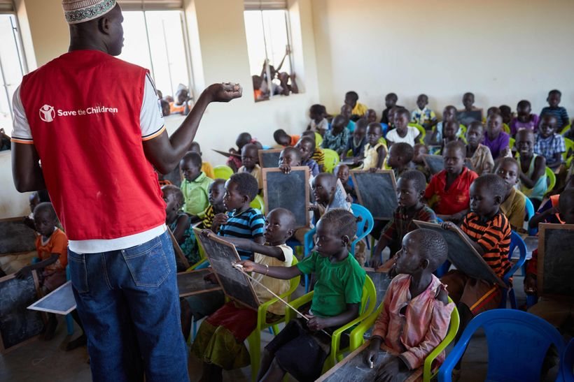 Bidibidi Refugee Settlement, Child Friendly Space and Early Childhood Development Centre, supported by Save the Children.
