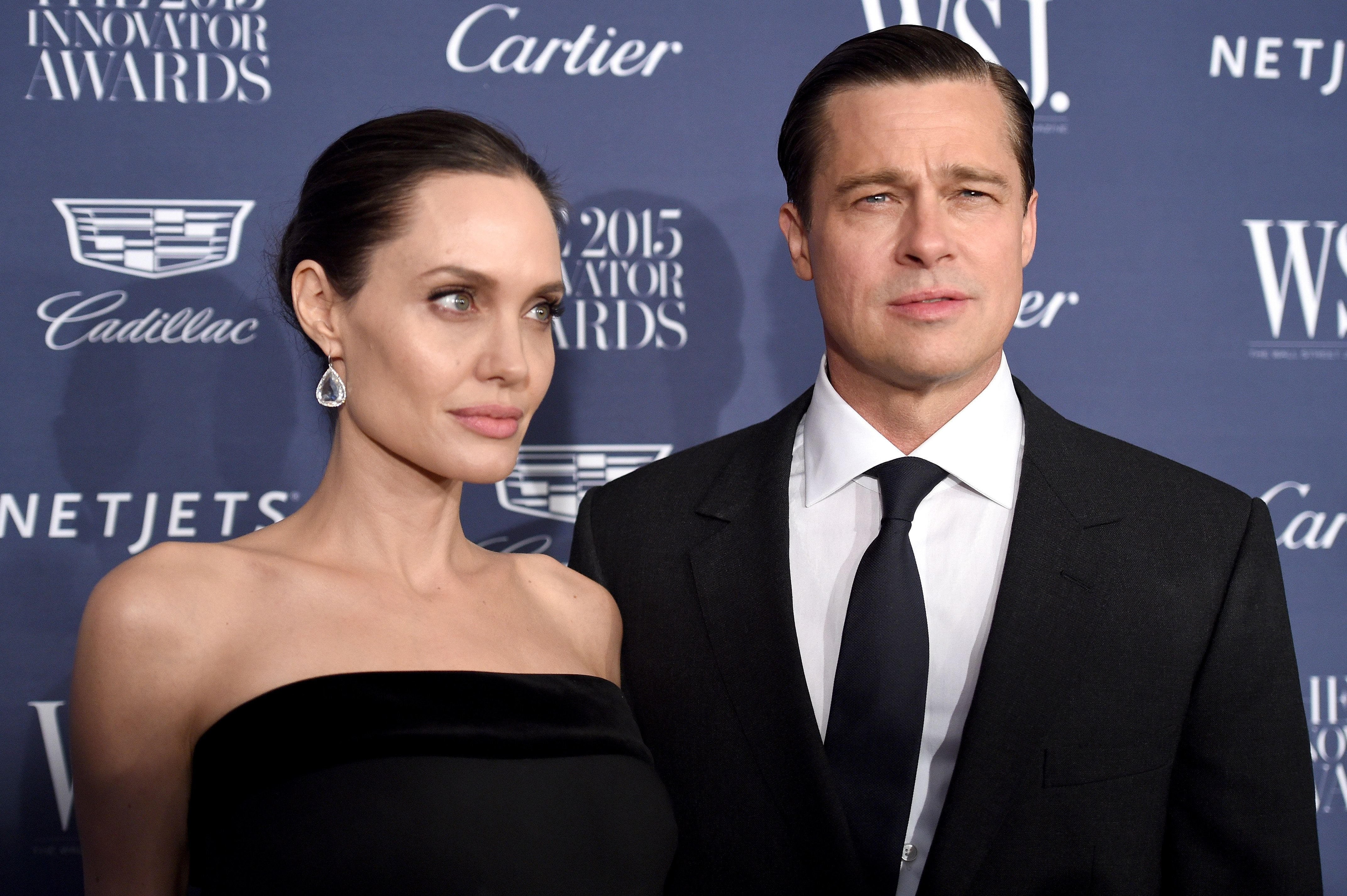 NEW YORK, NY - NOVEMBER 04:  2015 Entertainment Innovator Angelina Jolie Pitt (L) and Brad Pitt attend the WSJ. Magazine 2015 Innovator Awards at the Museum of Modern Art on November 4, 2015 in New York City.  (Photo by Dimitrios Kambouris/Getty Images for WSJ. Magazine 2015 Innovator Awards)