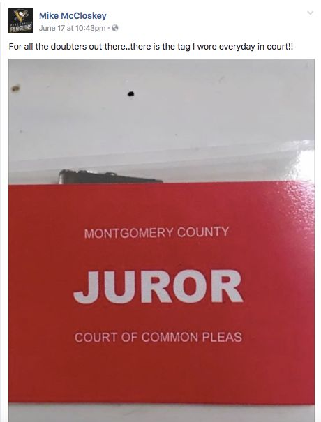 McCloskey shared a picture of what appeared to be his juror tag in a recently deleted Facebook post.
