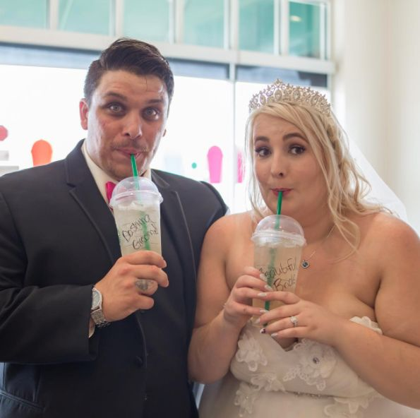 """""""Katey and Rocky had to stop for a Starbucksdrink after their wedding."""" --<i>Lori Beneteau</i>"""