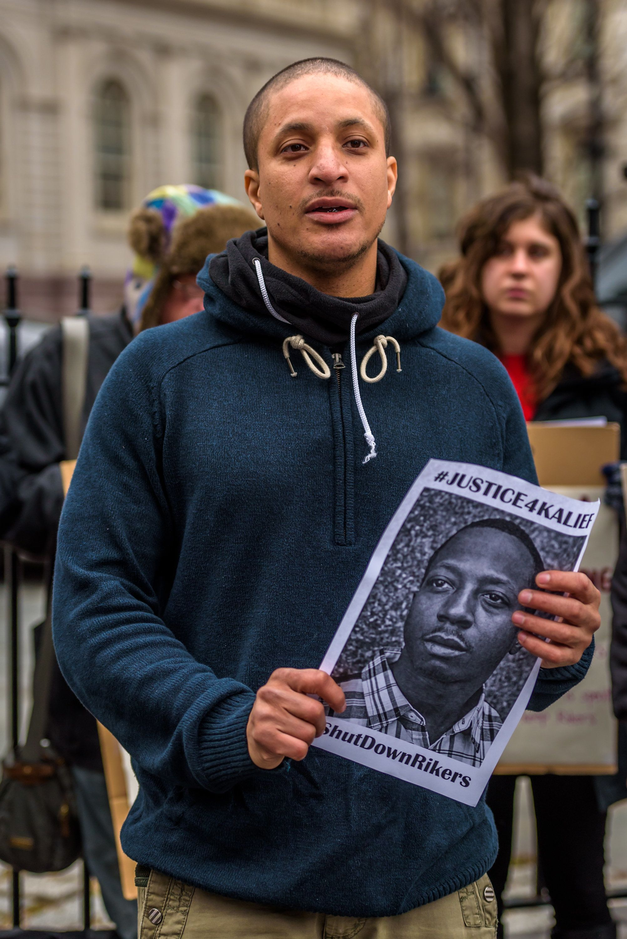 NEW YORK CITY HALL, NEW YORK, NY, UNITED STATES - 2016/02/23: Akeem Browder, brother of Kalif Browder at the press conference at New York City Hall to formerly ask Mayor de Blasio, Governor Cuomo and Department of Correction Commissioner Ponte to immediately shut down Rikers Island. (Photo by Erik McGregor/Pacific Press/LightRocket via Getty Images)