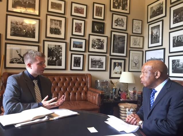 Chris Purdy meeting with Representative John Lewis (D-GA) in support of the Special Immigrant Visa (SIV) program. <em>April 2