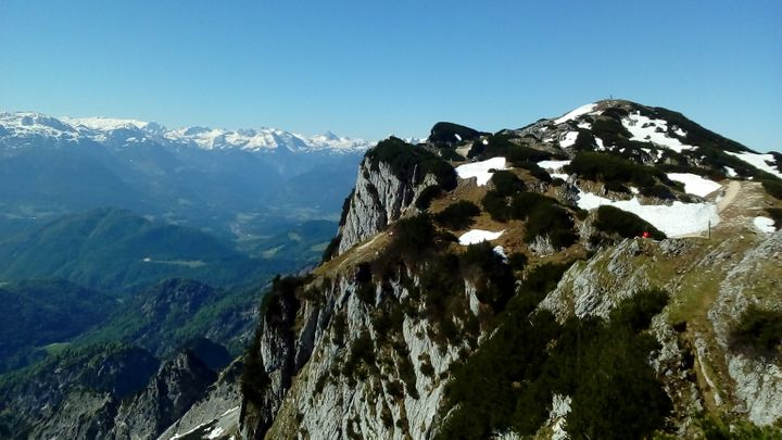 Image taken at the top of a snow-peaked hill in Salzburg, Austria